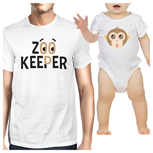 (365 Printing Zoo Keeper Monkey Dad and Baby Matching Shirts Gift for Baby Shower)