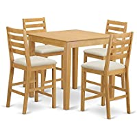 East West Furniture PBCF5-OAK-C 5 Piece Counter Height Table and 4 Dinette Chairs Set