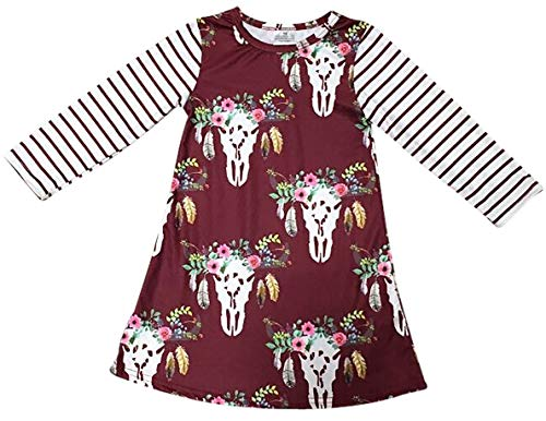 BluNight Collection Little Girl Dress Kids Floral Stripe Christmas Holiday Party Flower Girl Dress Burgundy 3T S (202056)