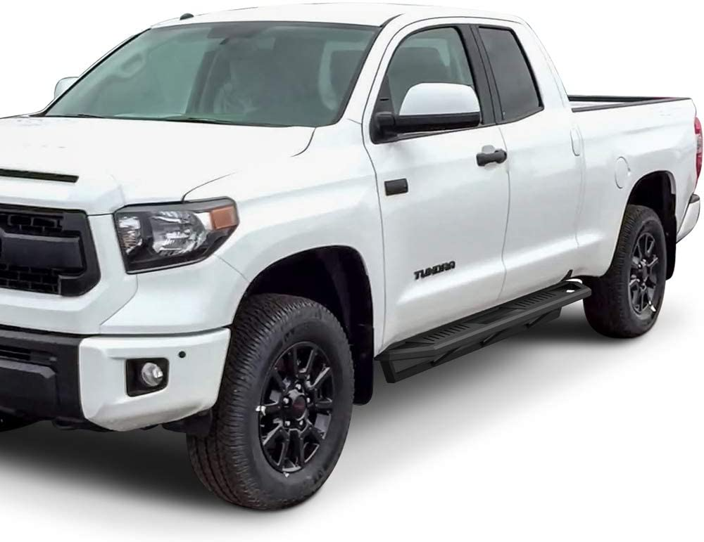 oEdRo 6.5inch Running Boards Compatible with 2007-2021 Toyota Tundra CrewMax Aluminum Alloy Side Steps Nerf Bars for More Fuel Efficiency Black Textured