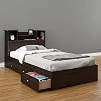 Pocono 3-Drawer Storage Bed with Bookcase Headboard Twin