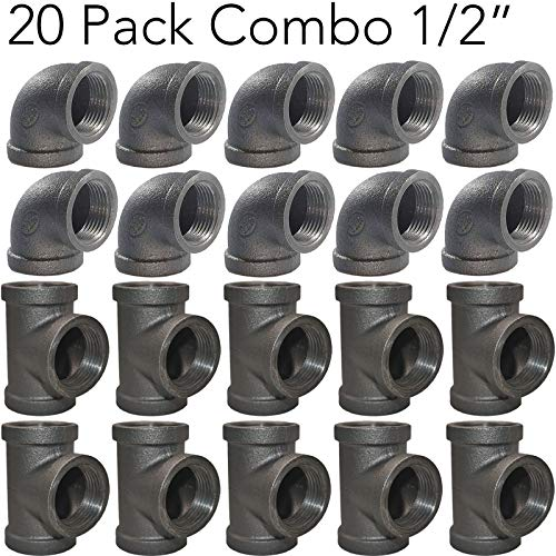 "20 Pack - Brooklyn Pipe 1/2"" Black Pipe Fittings (10 Pipe Elbows, 10 Pipe Tees) 
