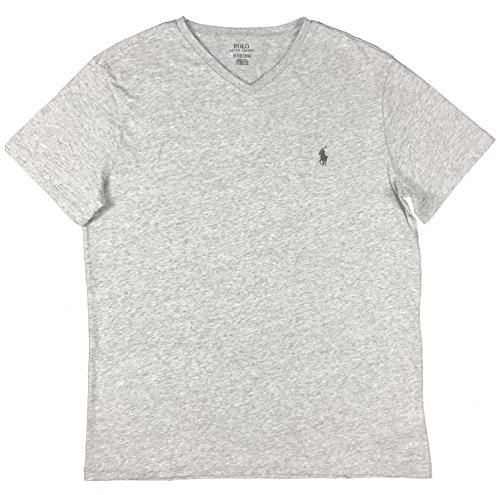 Mens Pima Ribbed - Polo Ralph Lauren Men's Classic Fit V-Neck T-Shirt (Lawrence Grey, XXL)