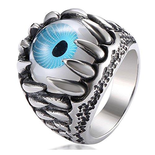 (UOKOHO Men's Stainless Steel Ring Band Gothic Dragon Claw Design Size 8 9 10 11 12 13 (Blue Eye, 12))