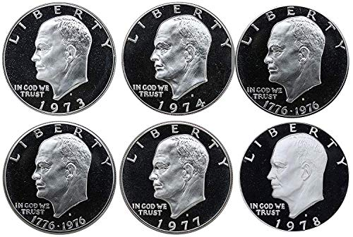 - 1973 S -1978 S Eisenhower Ike Dollars Gem Proof Run 6 Coins US Mint Decade Lot Complete 1970's Set Gem Proof