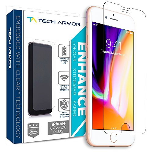 Tech Armor Enhance Radiation Blocking Screen Protector for Apple iPhone 8 Plus, 7 Plus, 6 Plus - Blocks Harmful Radiation, Improves Battery Life and Cell Signal - [1-Pack]