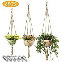Macrame Plant Hanger Set Hanging Planter Handmade Jute Rope for Indoor Outdoor Flower Pots (Pot not Included),4legs 6 pcs of 3 Different Size-JamBer
