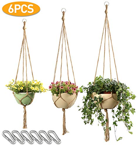 Macrame Plant Hanger Set Hanging Planter Handmade Jute Rope for Indoor Outdoor Flower Pots (Pot not Included),4legs 6 pcs of 3 Different Size-JamBer ()