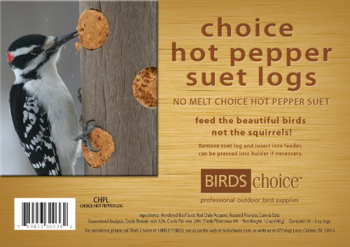 Birds Choice Hot Pepper Suet Logs (Choice Peanut Suet Logs)