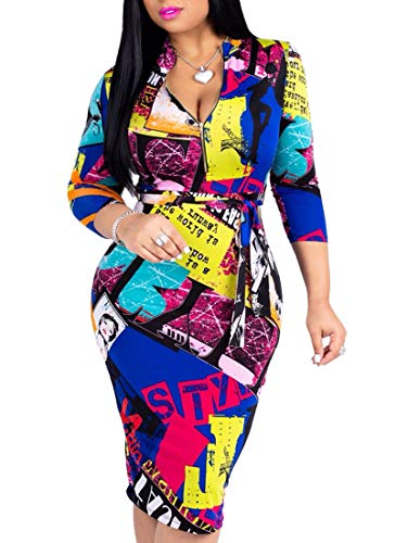 (Women's Sexy Floral 3/4 Sleeve Bodycon Midi Dress with Belt)