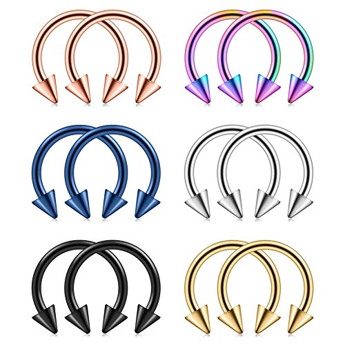Ruifan 12PCS Assorted Colors Surgical Steel CBR Nose Septum Horseshoe Earring Eyebrow Tongue Lip Piercing Ring with 5mm Spikes 14G 12mm