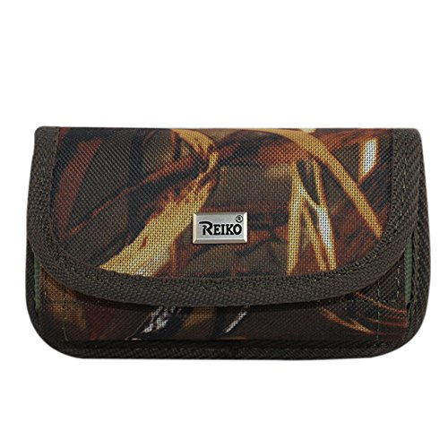 Reiko Wireless XXL Size Horizontal Natural Pattern Rugged Pouch with Card Holder - Brown Green