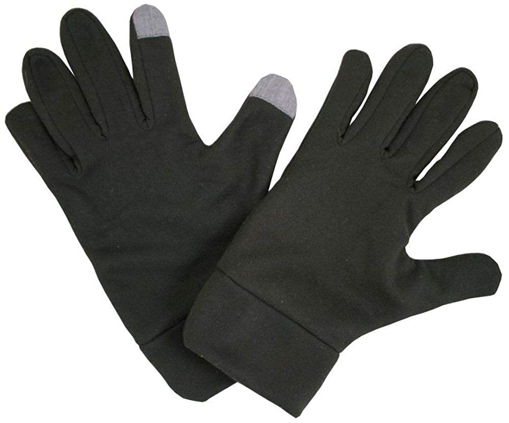 New Mens Woven Touch Screen Gloves With Two Contrast Finger Tips.