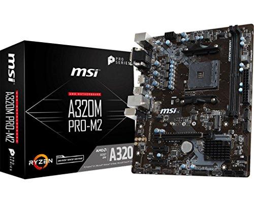 MSI ProSeries AMD Ryzen A320 DDR4 VR Ready USB 3 HDMI Micro-ATX Motherboard (A320M PRO-M2) ()