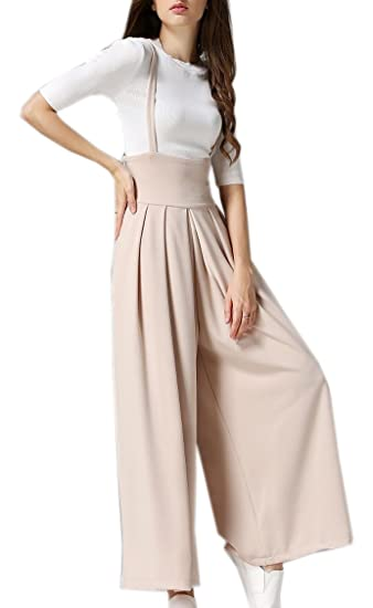 Hotmiss Womens High Waist Wide Leg Pleated Palazzo Trousers Overalls Suspender Pants