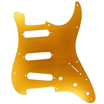 B Blesiya 1x Pastlla Pickguard para Guitarra Eléctrica 3 Ply 11 Orificios de Aluminio Placa Anti Scratch - Naranja dorada, como se describe: Amazon.es: ...