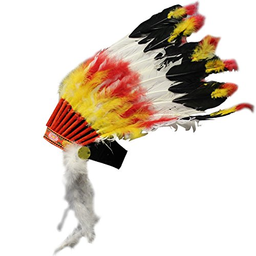[Jacobson Hat Company Men's Big Chief Feather Headdress, Multicolor, Adult] (Mens Indian Costumes)