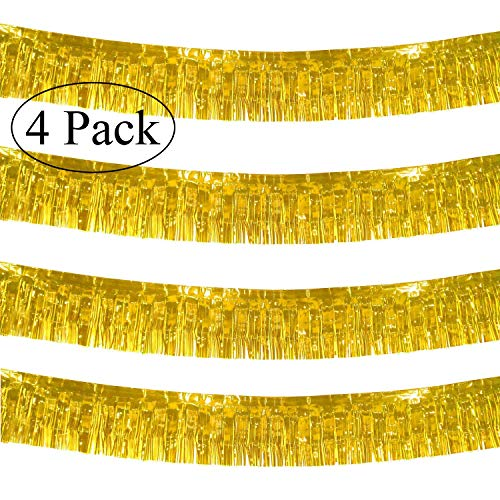Halloween Parade Float Themes (10 Feet Long Roll Gold Foil Fringe Garland - Pack of 4 | Shiny Metallic Tassle Banner | Ideal for Parade Floats, Bridal Shower, Bachelorette, Wedding, Birthday | Wall Hanging)