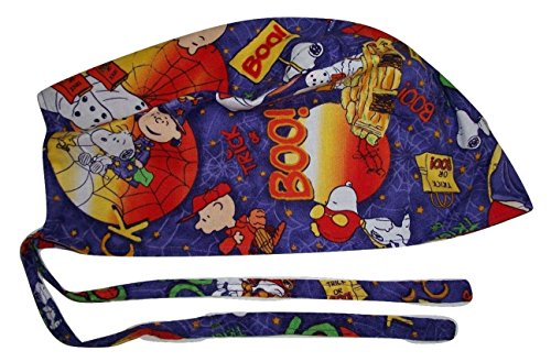Scrub Hat Made with Halloween Cartoon Character Cotton Fabric Nurse Cap Tie Back Doctor ER Skull Handmade in the USA -
