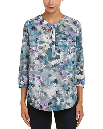 NYDJ Women's Floral 3/4 Sleeve Henley Pleat Back Blouse, Winter Frost Petals, Large