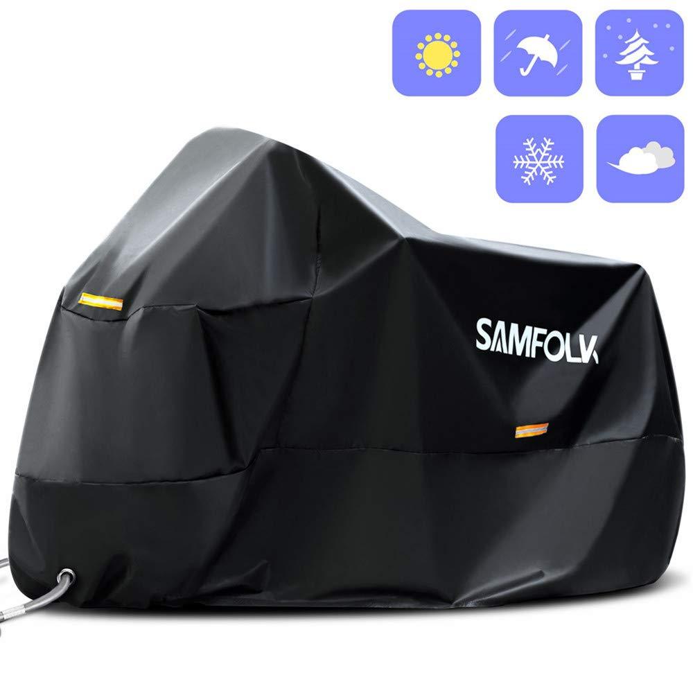 Funda Protectora para Moto & Scooter, Samfolk 210D Cubre Moto Cubierta Impermeable, Accesorios Moto Universal para Uso Interior y Exterior (Azul, M)