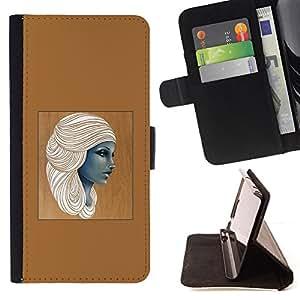 - Queen Pattern FOR HTC One M7 /La identificaci????n del cr????dito ranuras para tarjetas tir????n de la caja Cartera de cuero cubie - Egyptian goddess woman brown art -