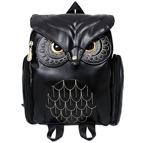 Women Girls Pu Leather Owl Cartoon Backpack Fashion Casual Satchel School Purse for Children/Students ()