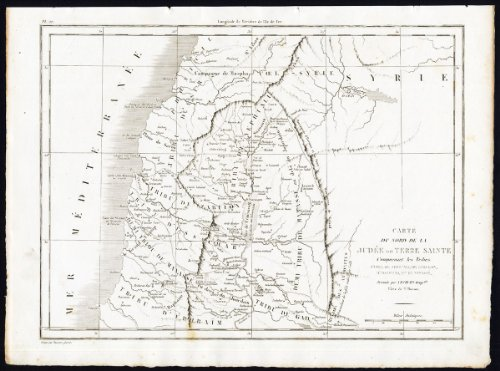 - Antique Map-Engraving-ISRAEL-NORTH-HOLY LAND-JUDEA-TRIBES-Blanchard-1844