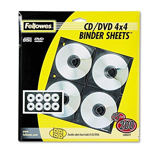 Fellowes 95321 CD/DVD Binder Sheets Hold 8 CDs/DVDs Each, 25-Pack (Cd Dvd Case Fellowes /)