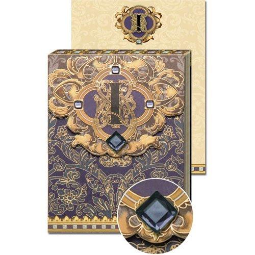 I Monogram Jewel and Gold Foil Embellished Pocket Note Pad,