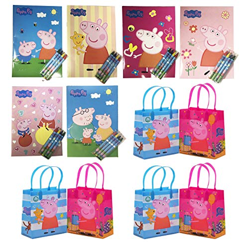 12pc Peppa Pig Birthday Party Supply Favor Gift Bags w/coloring book -