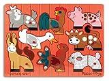 Melissa & Doug Farm Animals Mix 'n Match Wooden Peg Puzzle (8 pcs)