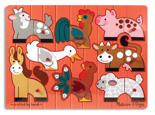 Mix Match Peg Puzzle - Melissa & Doug Farm Animals Mix 'n Match Wooden Peg Puzzle (8 pcs)