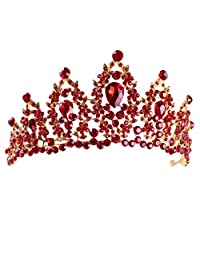 SODIAL Red Pageant Wedding Crystal Tiaras and Crowns Bridal Rhinestone Tiaras Crowns Hair Jewelry Women Girls Hairband