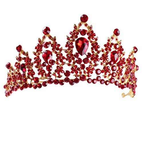 SODIAL Red Pageant Wedding Crystal Tiaras and Crowns Bridal Rhinestone Tiaras Crowns Hair Jewelry Women Girls Hairband 154137