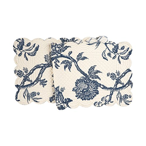 C&F Home Arcadia Cotton Quilted Reversible Table Runner 14x51 Runner Indigo