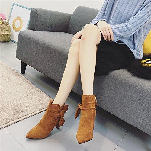 con raso cerniera Bow di femmina personalizzate inverno stivali coreana Heeled con High laterale Colored Caramel KPHY punta spesso nuova Caramel versione in Tie CZqw0txgT
