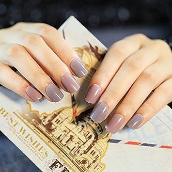 echiq Fashion gris rosa uñas postizas corto brillante Shimmer diseñado 24 uñas postizas manicura consejos con pegamento adhesivo: Amazon.es: Belleza