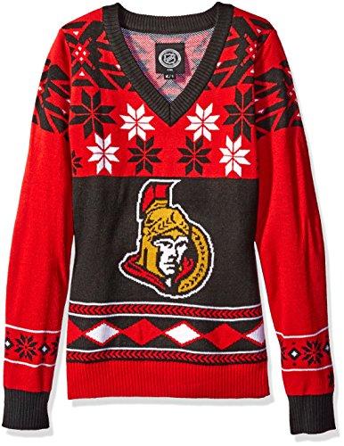 - Ottawa Senators Womens Big Logo V-Neck Sweater Extra Large