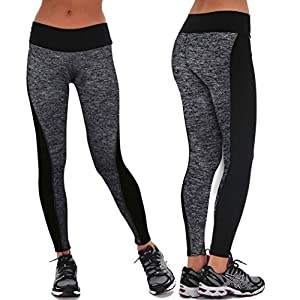 Auwer Leggings, Patchwork High Waist Yoga Pants Running Gym Workout Fitness Yoga Leggings Pants (Gray, S)