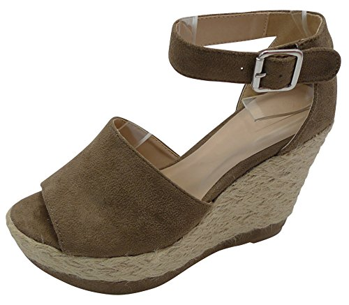 Cambridge Select Women's Peep Toe Ankle Strappy Braided Rope Espadrille Platform Wedge Sandal (9 B(M) US, Taupe (Womens Brown Espadrille)