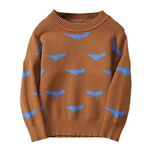 Jchen(TM) Clearance Boys Girls Baby Kids Dinosaur Sweaters Soft Warm Children's Sweater Tops for 1-5 Y (Age: 0-12 Months, Brown) by Jchen Baby Coat