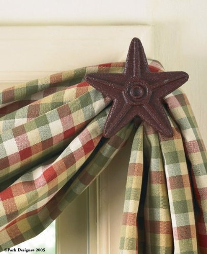 Park Designs Cast Star Curtain Hooks, Red, Includes 2 in Set