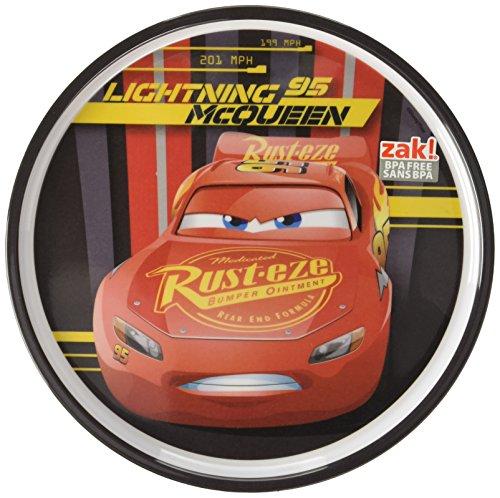 (Zak Designs CRSG-0353 Cars 3 8in Melamine Rimmed Plate, Multicolor)