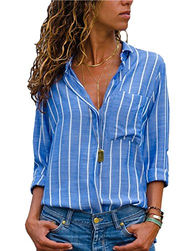 HOTAPEI Womens Casual V Neck Striped Button Down Chiffon Work Blouses Long Sleeve Fall Office Tops T Shirts Blue and White XL ()