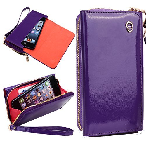 NuVur Perfect Universal Patent Faux Leather Smartphone Wallet Clutch Fits HP Slate S7-4200US|Purple