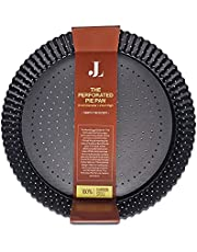 Pie Tart Quiche Pan With Holes - Deep Dish Removable Bottom - Metal Non-Stick Perforated Fluted Baking Mold (9 inch diameter, 2 inch depth)