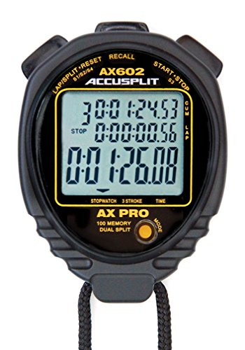 ACCUSPLIT AX602 PRO MEMORY (100) 3 LINE DISPLAY Stopwatch  with STROKE RATE (Black) by ACCUSPLIT
