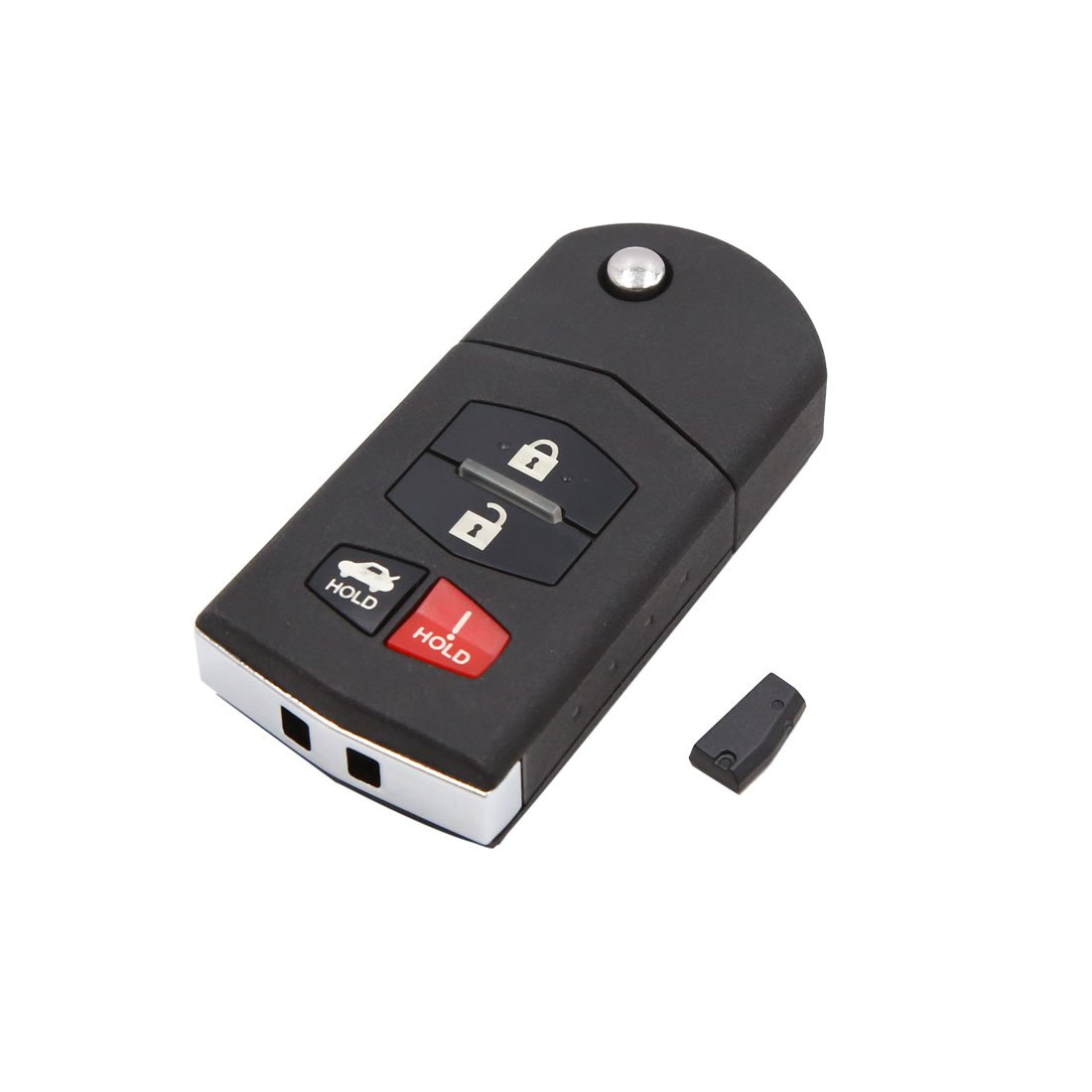 uxcell 4 Buttons 315Hz Uncut Key Fob Car Remote Control Keyless Black for Mazda