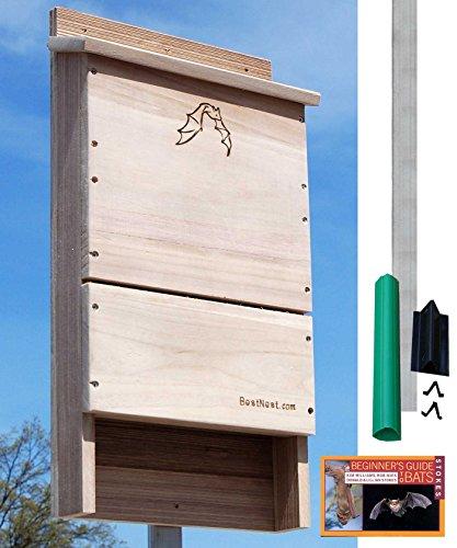 BestNest Single-Celled Bat House Kit with Pole, 85 bats